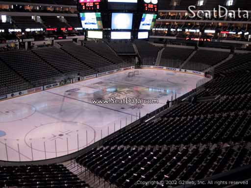 Seat view from section 222 at the American Airlines Center, home of the Dallas Stars