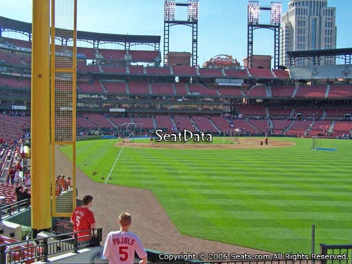 Seat view from section 129 at Busch Stadium, home of the St. Louis Cardinals