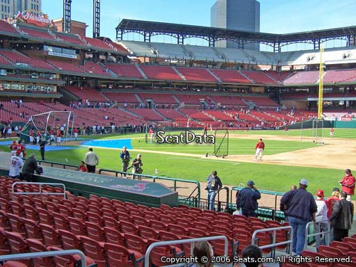 Seat view from section 141 at Busch Stadium, home of the St. Louis Cardinals