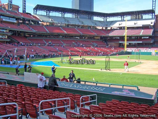Seat view from section 142 at Busch Stadium, home of the St. Louis Cardinals