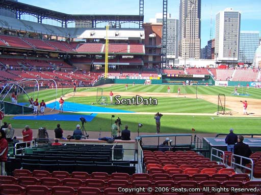 Seat view from section 145 at Busch Stadium, home of the St. Louis Cardinals
