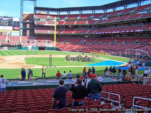Seat view from section 157 at Busch Stadium, home of the St. Louis Cardinals