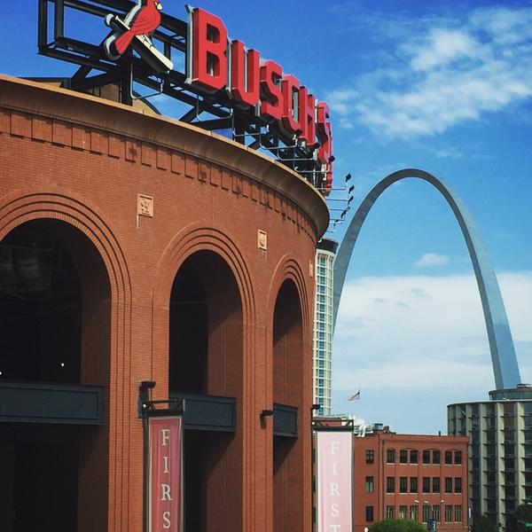 Exterior View of Busch Stadium. Home of the St. Louis Cardinals.