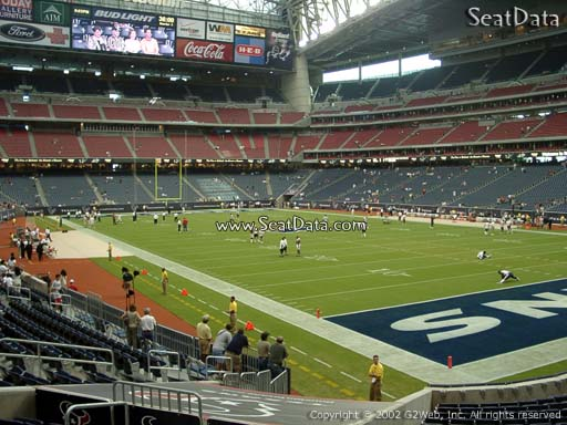 Seat view from section 120 at NRG Stadium, home of the Houston Texans