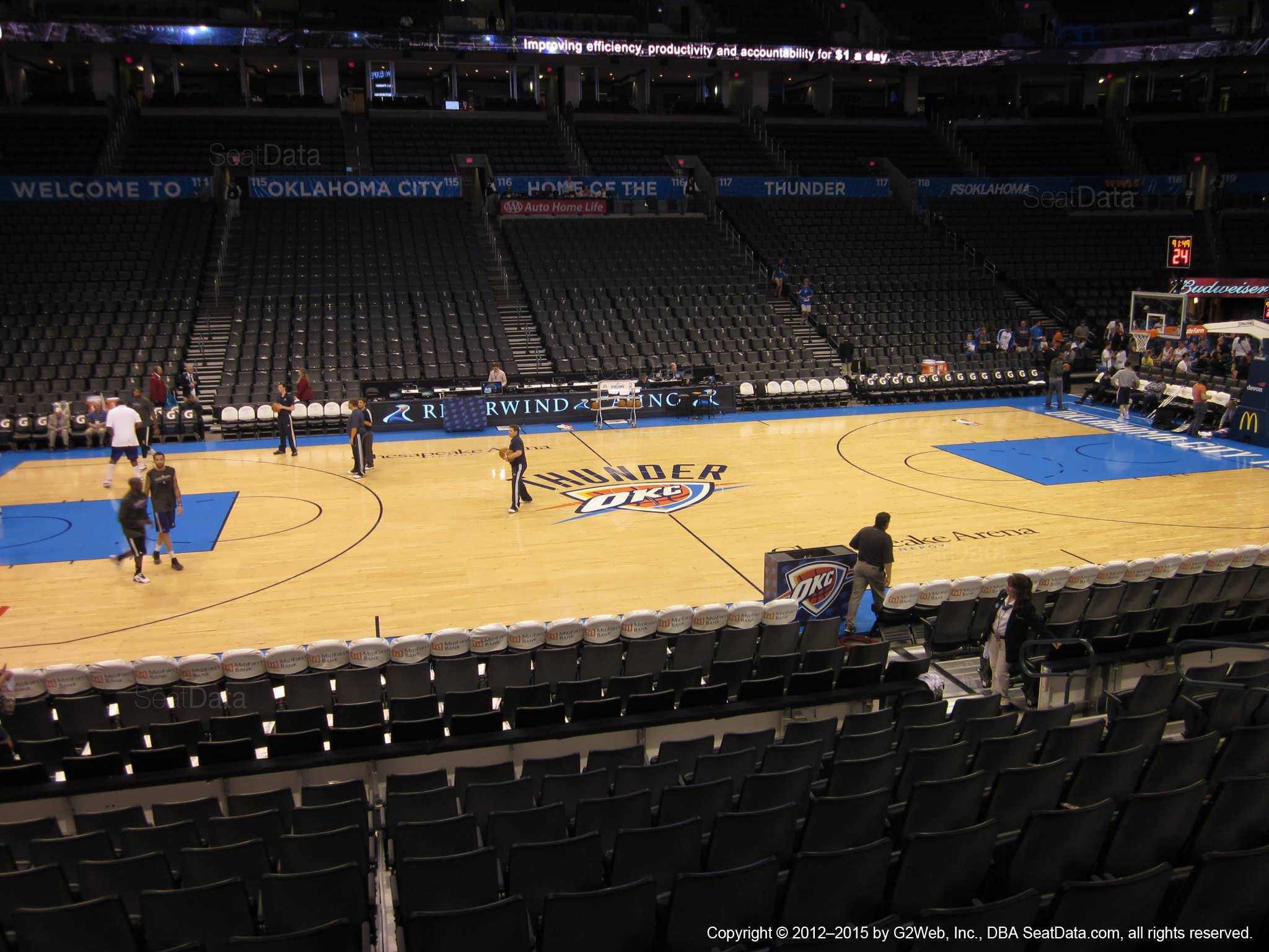 Seat view from section 106 at Chesapeake Energy Arena, home of the Oklahoma City Thunder
