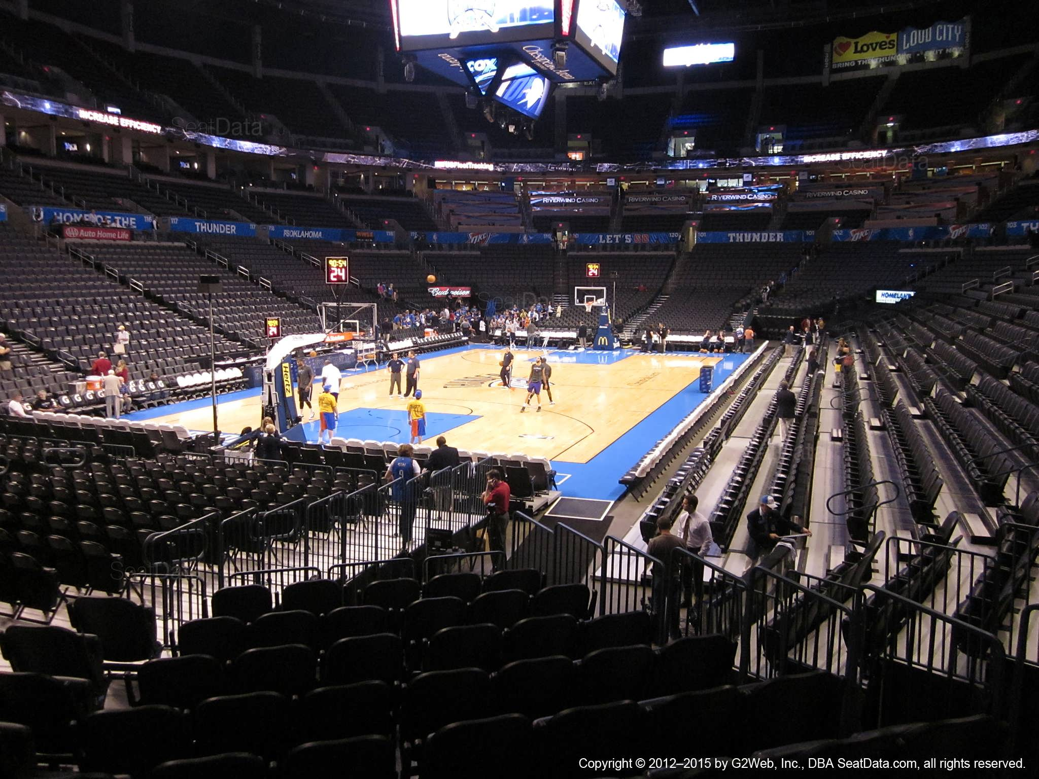 Seat view from section 109 at Chesapeake Energy Arena, home of the Oklahoma City Thunder