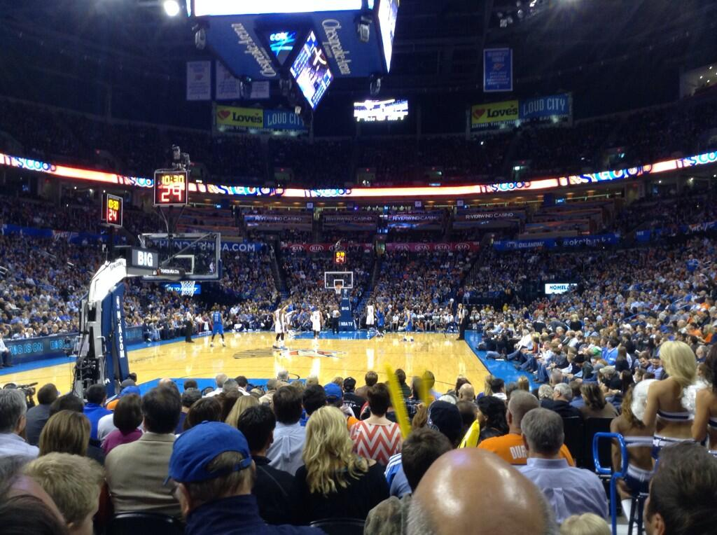 Seat view from section 110 at Chesapeake Energy Arena, home of the Oklahoma City Thunder
