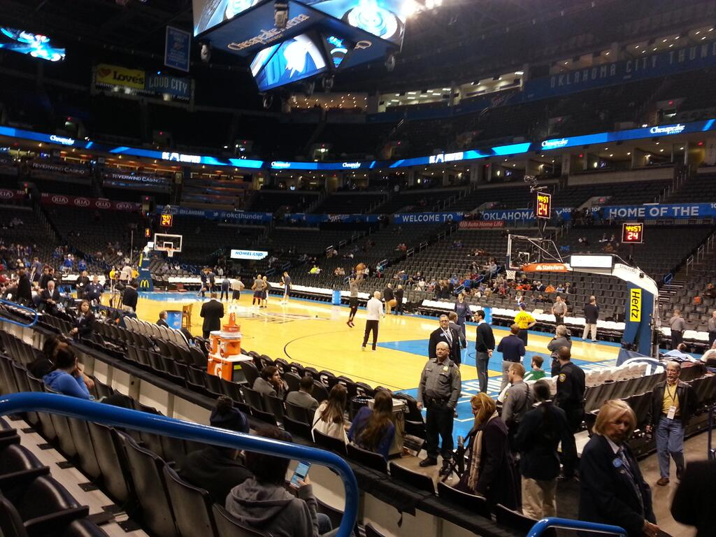 Seat view from section 113 at Chesapeake Energy Arena, home of the Oklahoma City Thunder