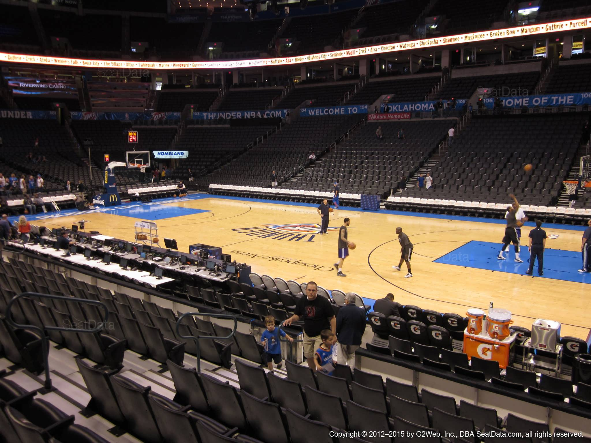 Seat view from section 114 at Chesapeake Energy Arena, home of the Oklahoma City Thunder