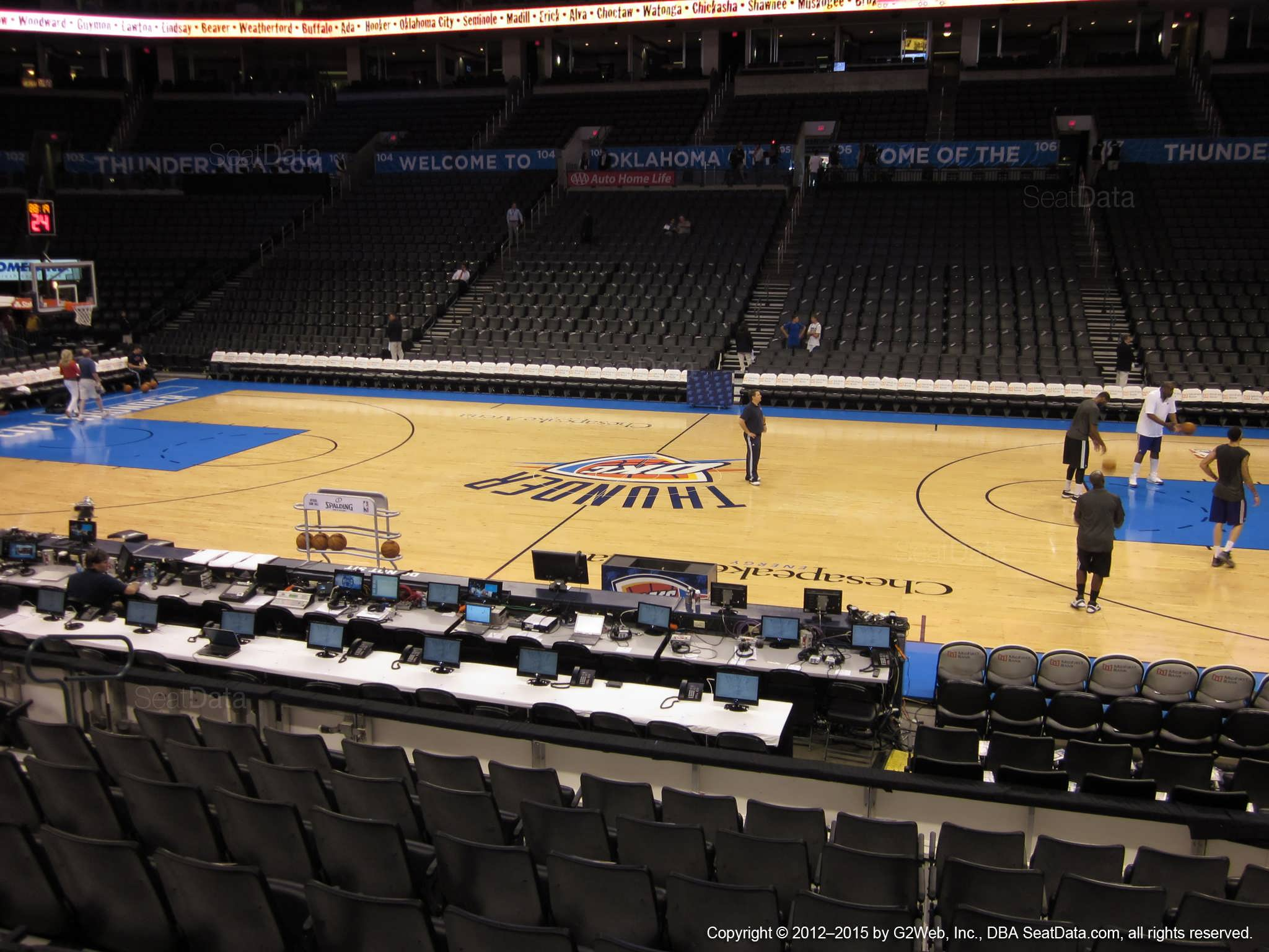 Seat view from section 115 at Chesapeake Energy Arena, home of the Oklahoma City Thunder