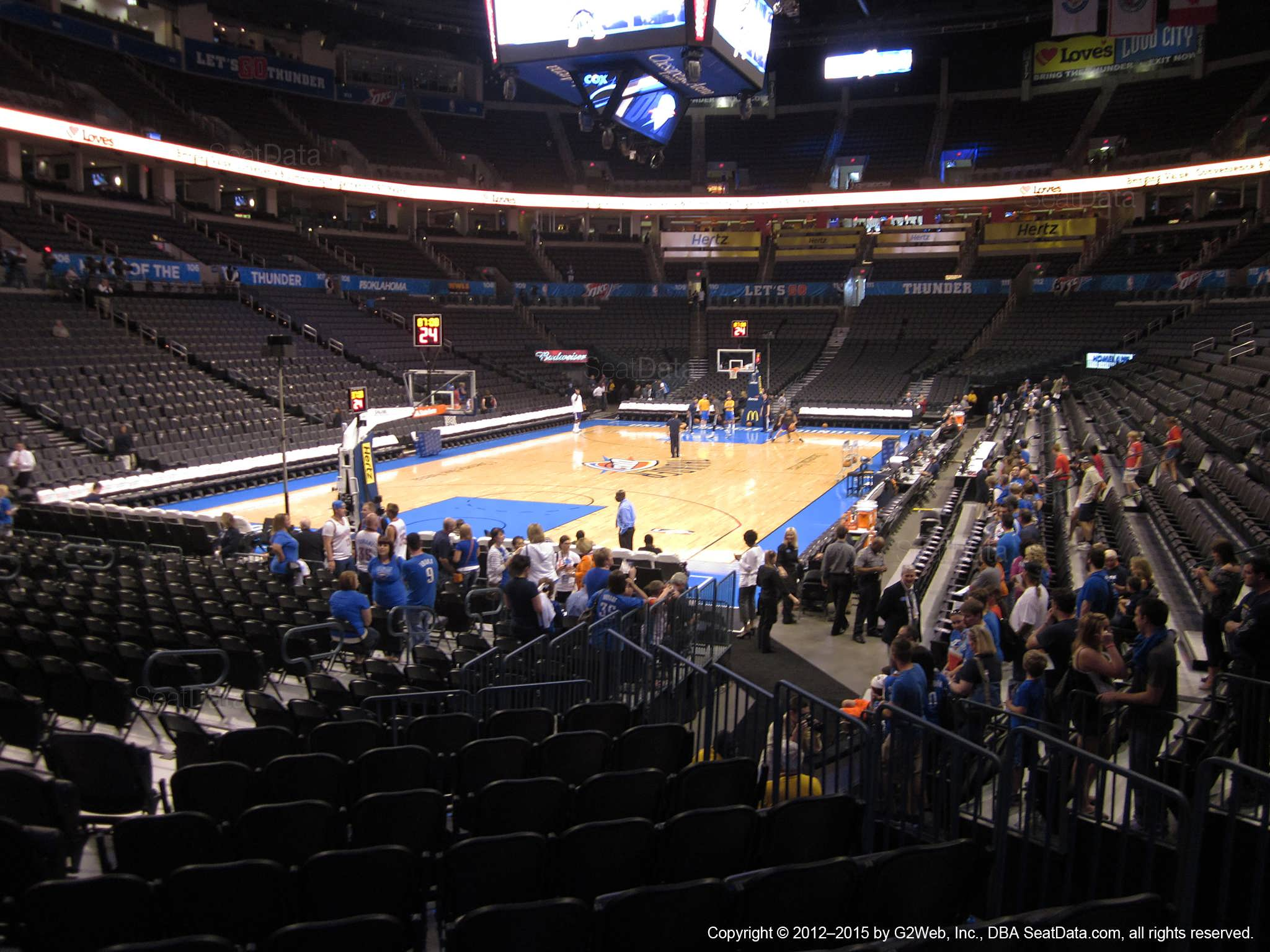 Seat view from section 119 at Chesapeake Energy Arena, home of the Oklahoma City Thunder