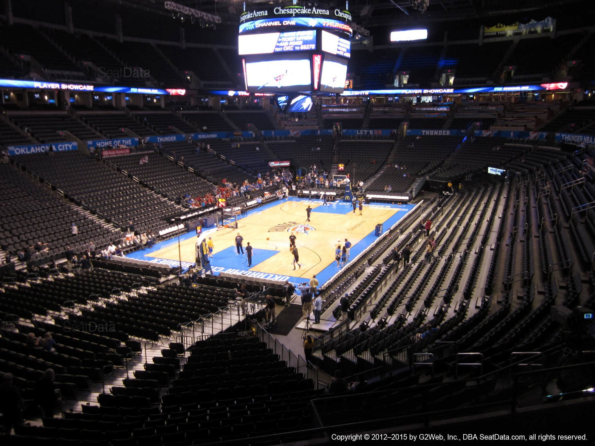 Seat view from section 213 at Chesapeake Energy Arena, home of the Oklahoma City Thunder
