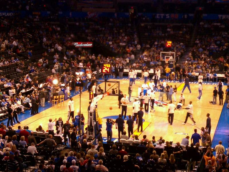Seat view from section 214 at Chesapeake Energy Arena, home of the Oklahoma City Thunder