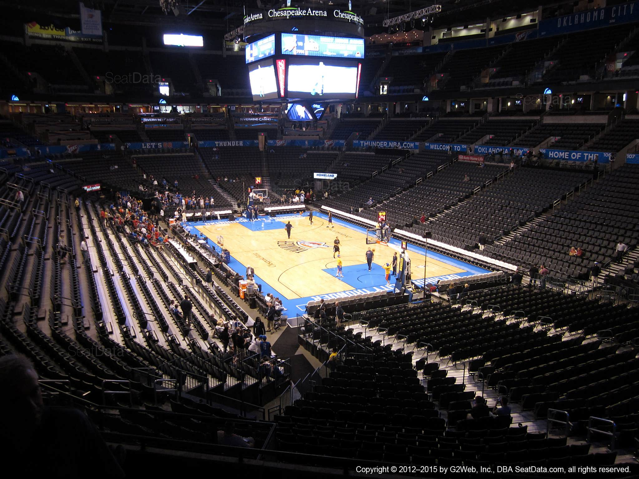 Seat view from section 218 at Chesapeake Energy Arena, home of the Oklahoma City Thunder