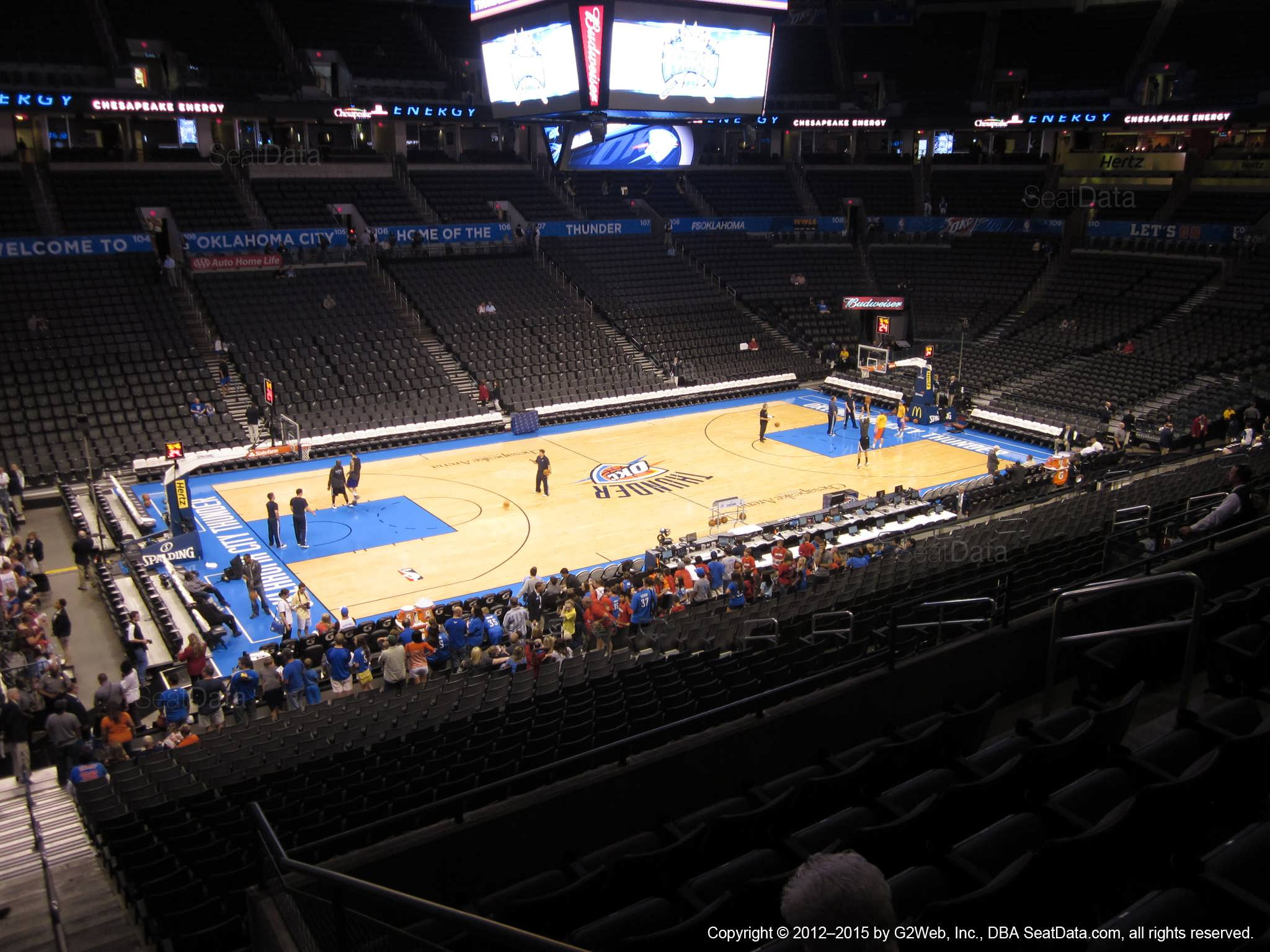 Seat view from section 225 at Chesapeake Energy Arena, home of the Oklahoma City Thunder