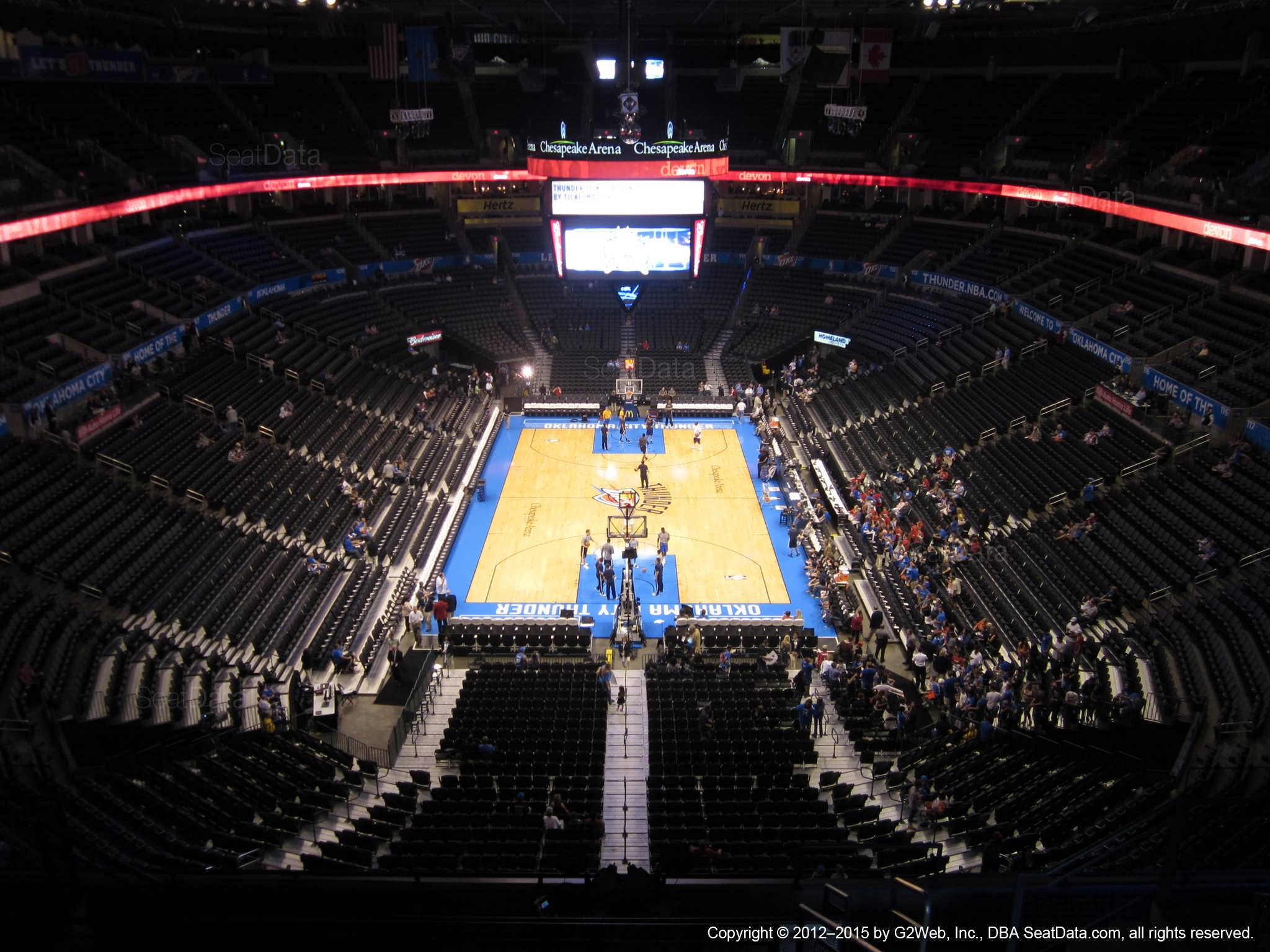Seat view from section 301 at Chesapeake Energy Arena, home of the Oklahoma City Thunder