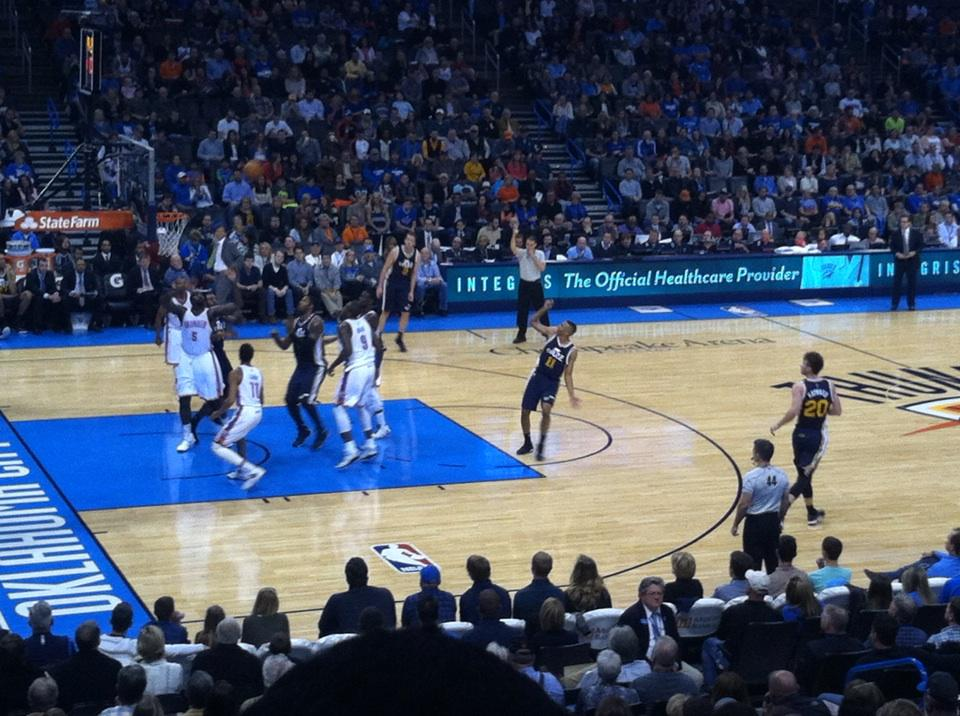 Seat view from section 107 at Chesapeake Energy Arena, home of the Oklahoma City Thunder