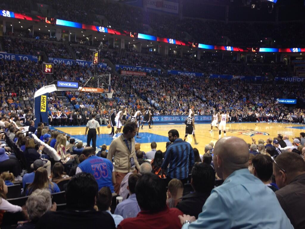 Seat view from section 108 at Chesapeake Energy Arena, home of the Oklahoma City Thunder