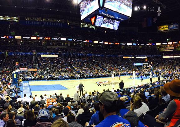 Seat view from section 117 at Chesapeake Energy Arena, home of the Oklahoma City Thunder