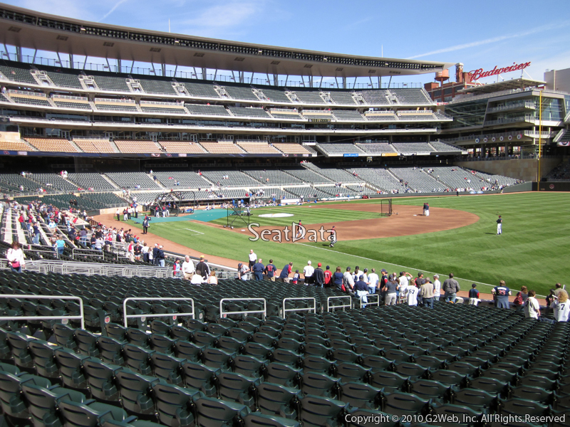 Seat view from section 103 at Target Field, home of the Minnesota Twins