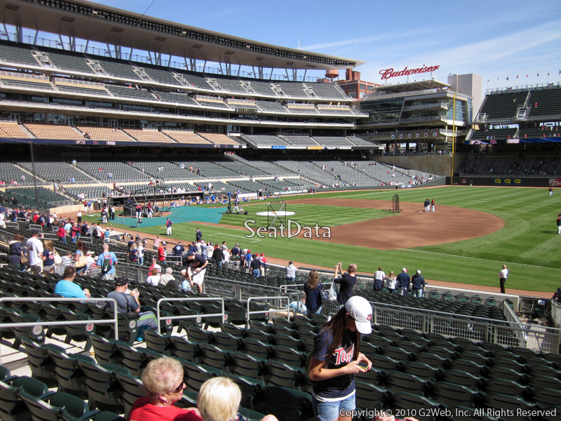 Seat view from section 105 at Target Field, home of the Minnesota Twins