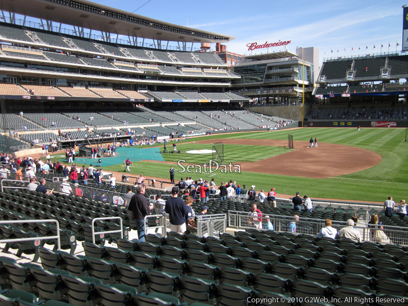 Seat view from section 106 at Target Field, home of the Minnesota Twins