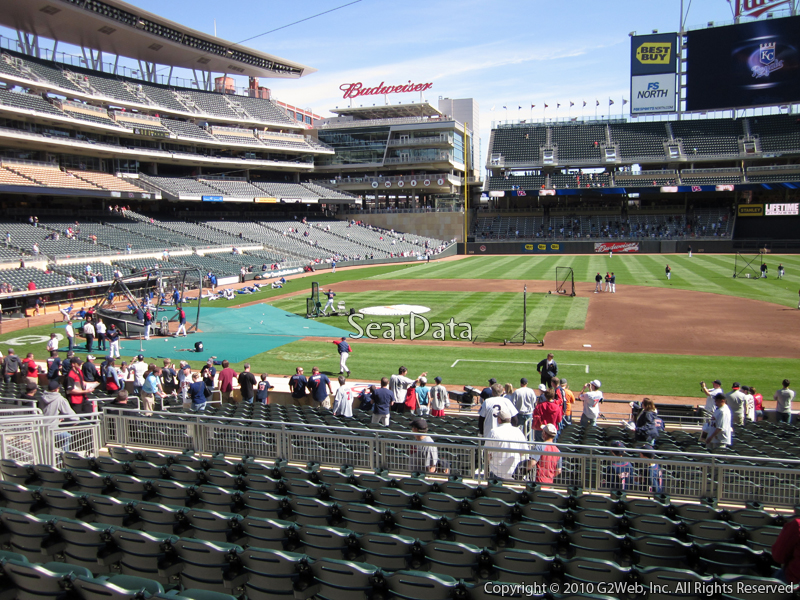 Seat view from section 108 at Target Field, home of the Minnesota Twins