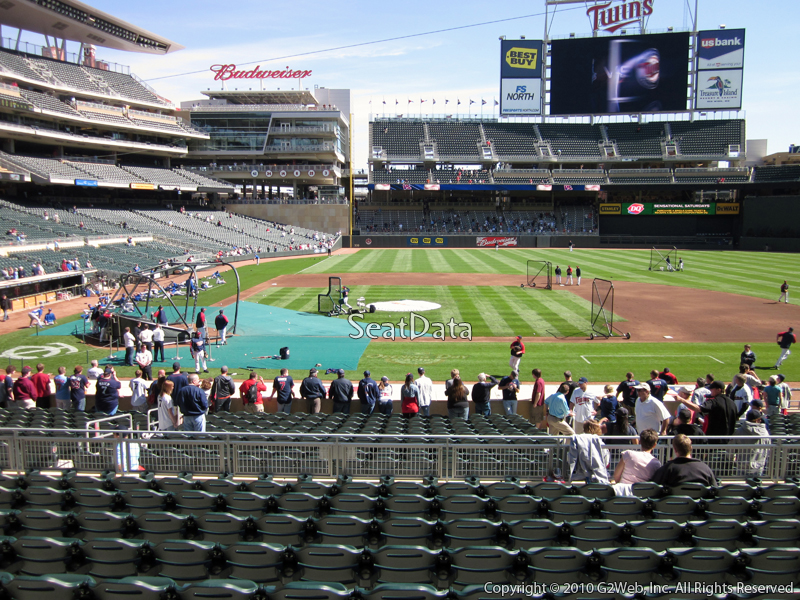Seat view from section 109 at Target Field, home of the Minnesota Twins