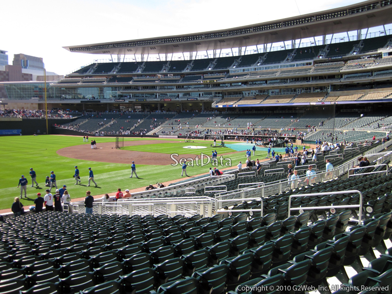 Seat view from section 124 at Target Field, home of the Minnesota Twins