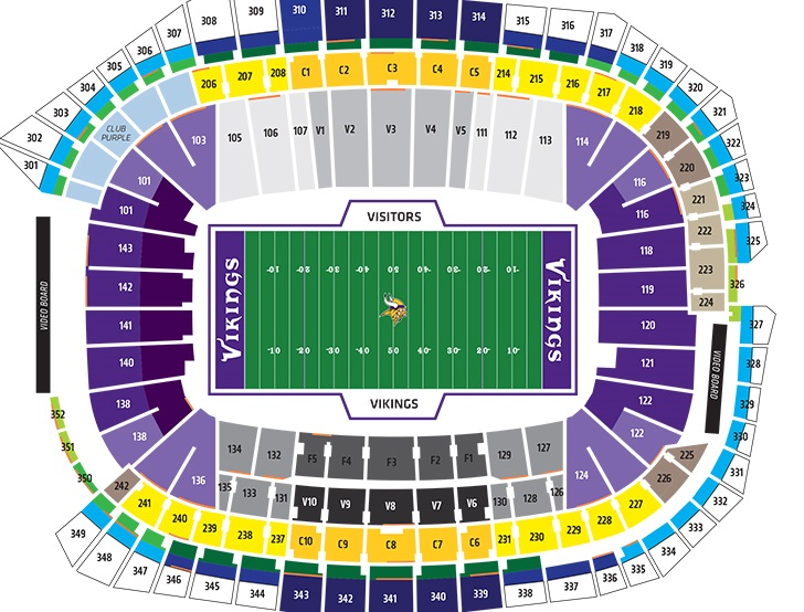 U.S. Bank Stadium Seating Chart, Minnesota Vikings.