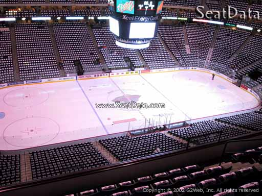 Seat view from section 206 at the Xcel Energy Center, home of the Minnesota Wild