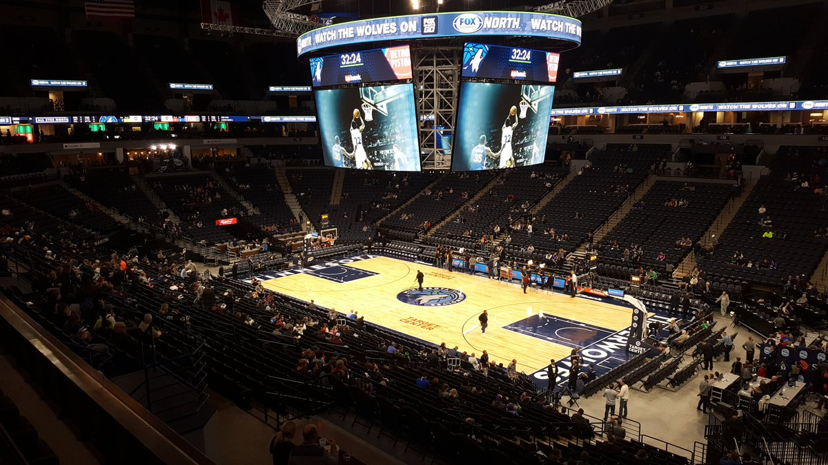 View of the court at the Target Center, home of the Minnesota Timberwolves.