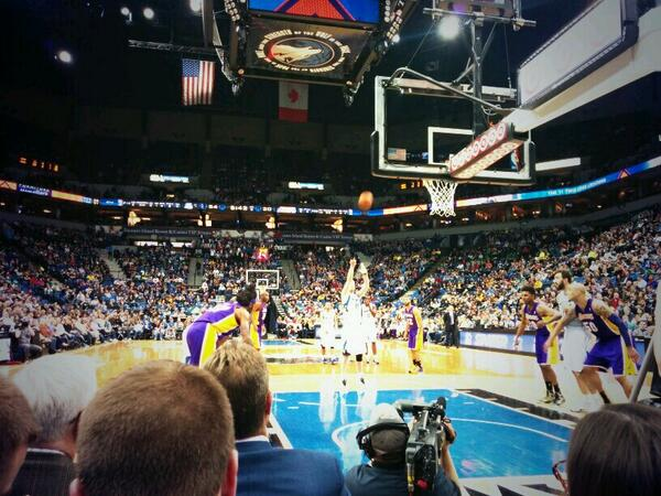 Seat view from section 100-2 at the Target Center, home of the Minnesota Timberwolves.
