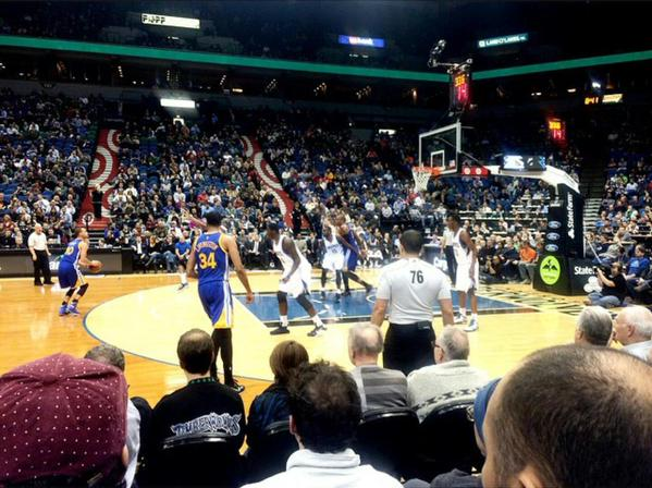 Seat view from section 100-3 at the Target Center, home of the Minnesota Timberwolves.