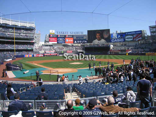 Seat view from section 119 at Yankee Stadium, home of the New York Yankees