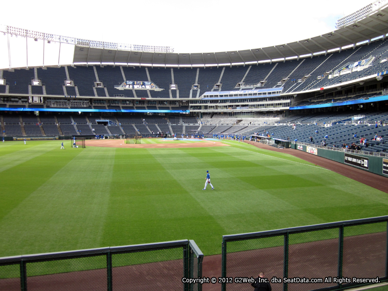 Seat view from section 104 at Kauffman Stadium, home of the Kansas City Royals