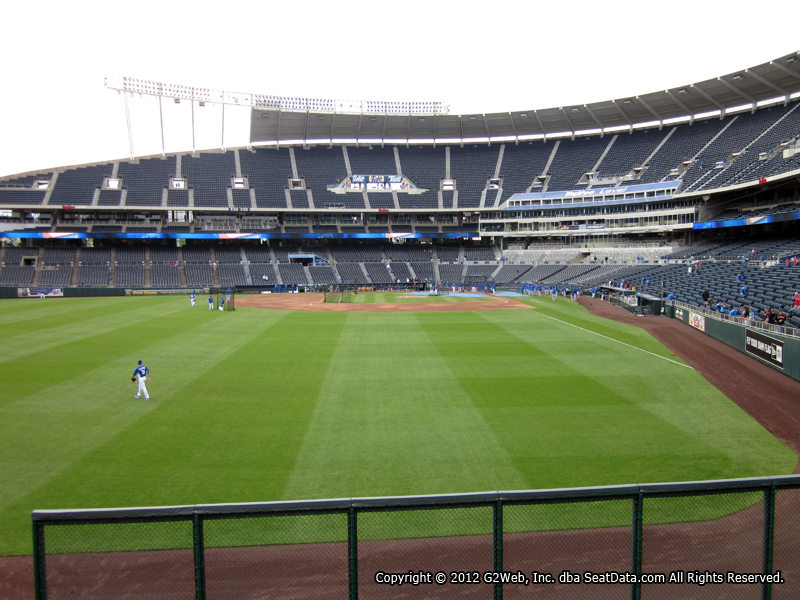 Seat view from section 105 at Kauffman Stadium, home of the Kansas City Royals