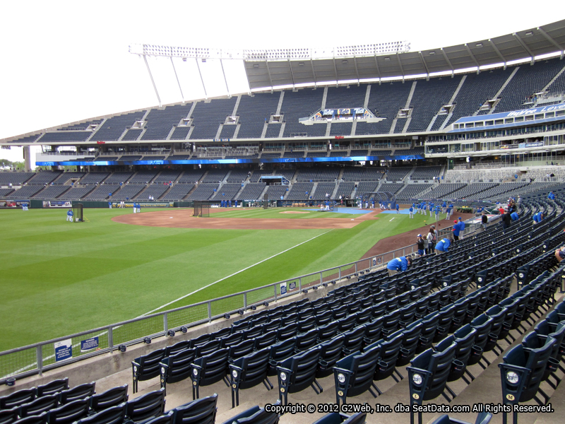 Seat view from section 110 at Kauffman Stadium, home of the Kansas City Royals