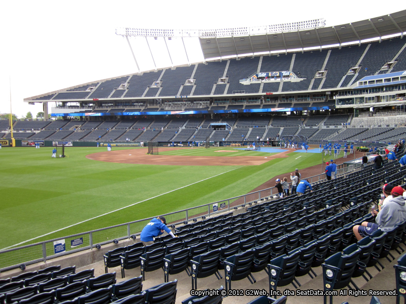 Seat view from section 111 at Kauffman Stadium, home of the Kansas City Royals