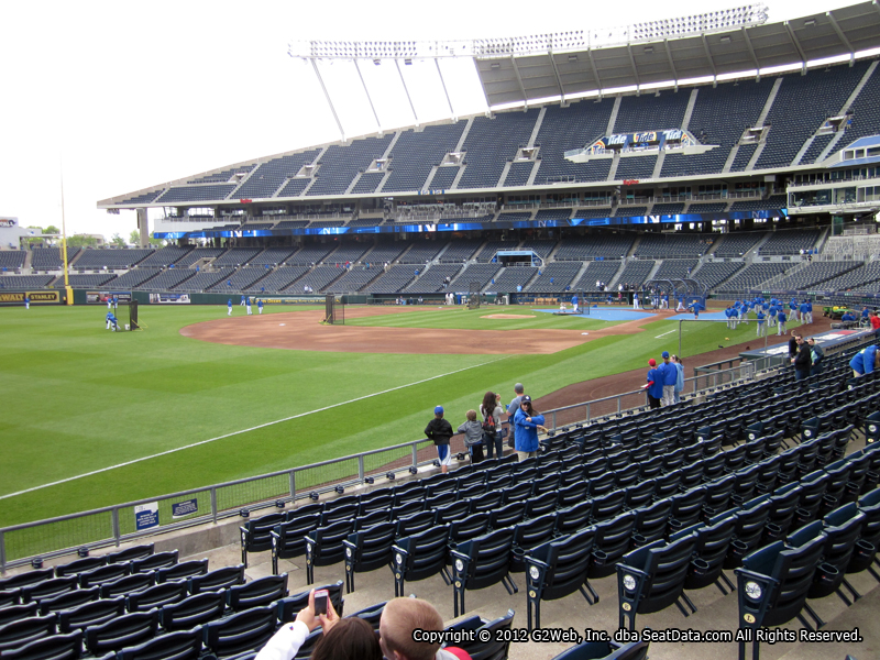 Seat view from section 112 at Kauffman Stadium, home of the Kansas City Royals