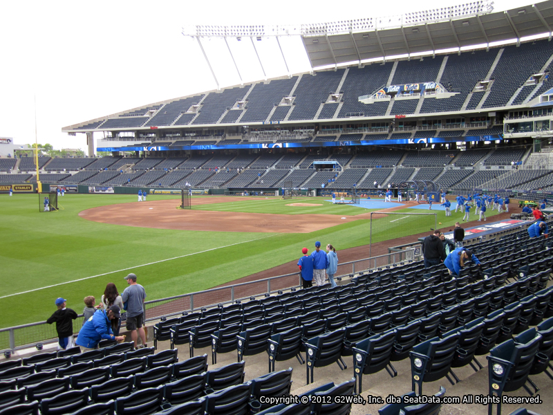 Seat view from section 113 at Kauffman Stadium, home of the Kansas City Royals