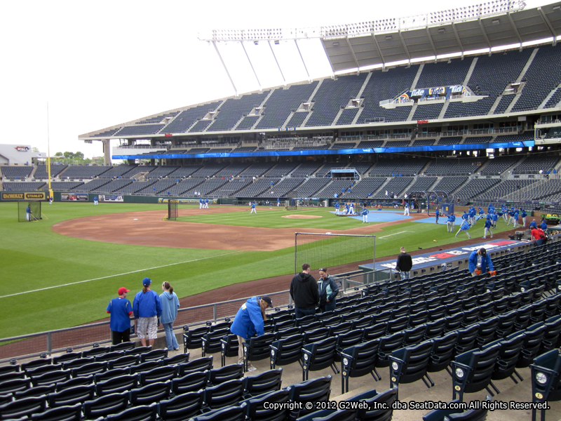 Seat view from section 114 at Kauffman Stadium, home of the Kansas City Royals
