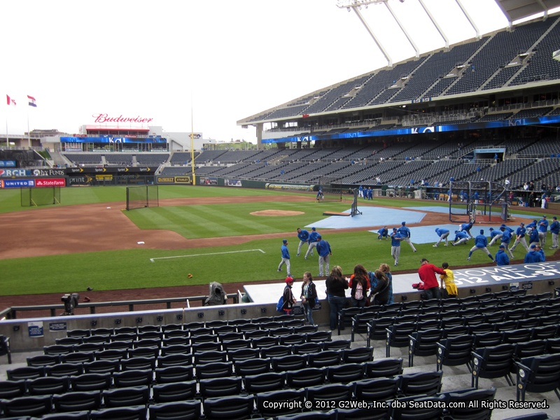 Seat view from section 119 at Kauffman Stadium, home of the Kansas City Royals