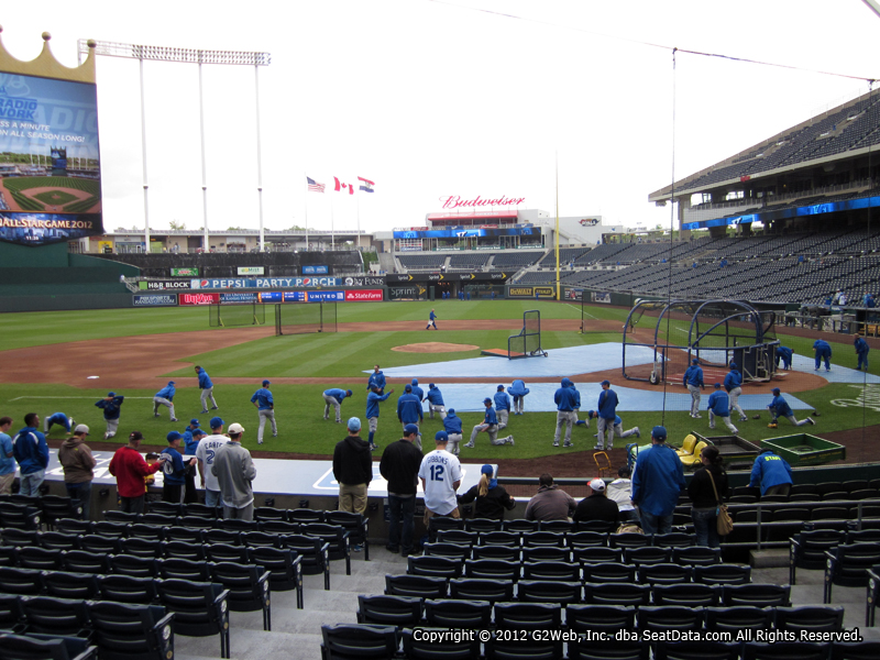 Seat view from section 123 at Kauffman Stadium, home of the Kansas City Royals