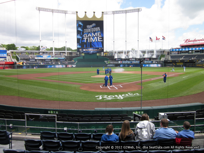Seat view from section 127 at Kauffman Stadium, home of the Kansas City Royals