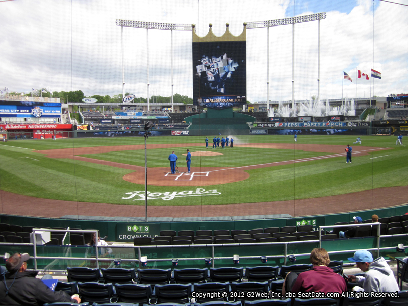 Seat view from section 128 at Kauffman Stadium, home of the Kansas City Royals