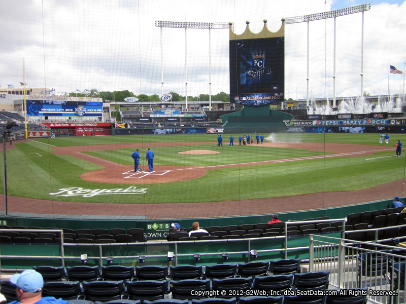 Seat view from section 129 at Kauffman Stadium, home of the Kansas City Royals