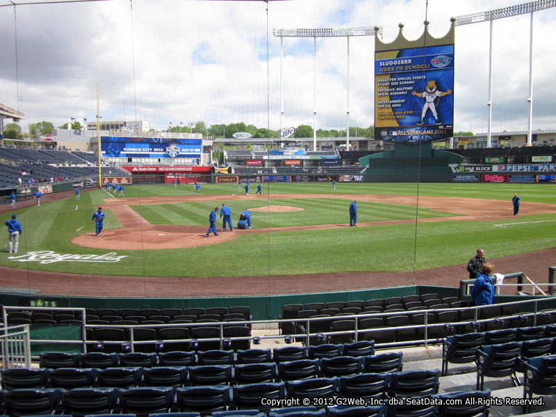 Seat view from section 130 at Kauffman Stadium, home of the Kansas City Royals