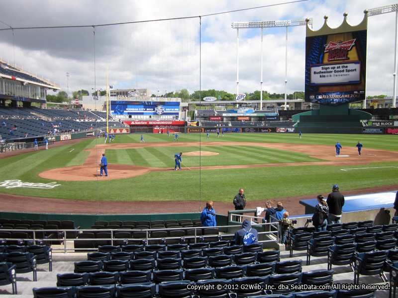 Seat view from section 131 at Kauffman Stadium, home of the Kansas City Royals