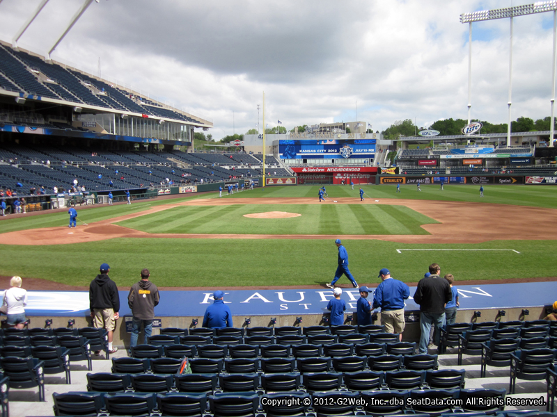 Seat view from section 134 at Kauffman Stadium, home of the Kansas City Royals